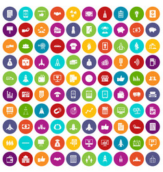 100 startup icons set color vector