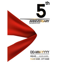 5 anniversary design with big red ribbon isolated vector