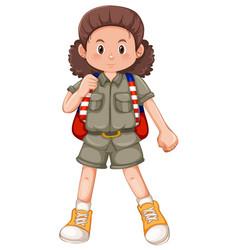 a camping girl character vector image
