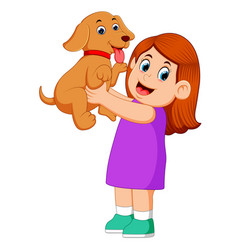 a little girl is holding up her new brown puppy vector image
