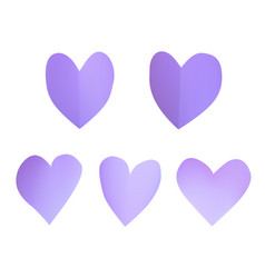 a set of purple paper hearts vector image