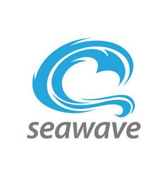 abstract blue sea wave logo concept design vector image