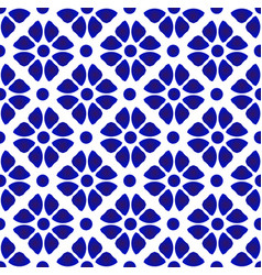 Abstract flower pattern blue and white vector