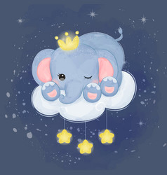 Adorable elephant in watercolor vector