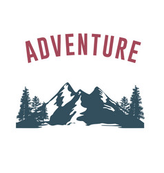 adventure with mountain silhouette vector image