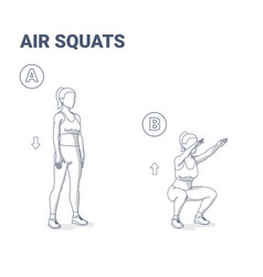 Air squats female exercise home workout guidance vector