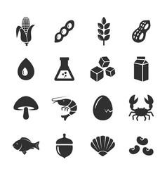 allergen food icons set vector image
