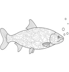 anti-stress coloring for adults and children fish vector image