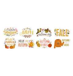 autumn hand drawn lettering set fall vector image