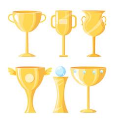 Award cups made gold set vector