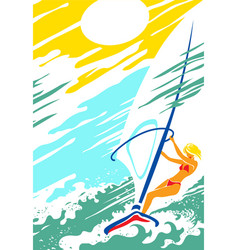 beautiful girl on a windsurfer in open sea vector image