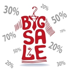 Big Sale letteringTee Shirt on hangerfalling vector image