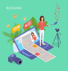blogging social media concept 3d isometric view vector image