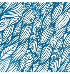 Blue hair waves doodle seamless pattern vector image