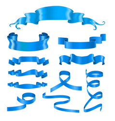 Blue ribbon banners silky shiny 3d design vector