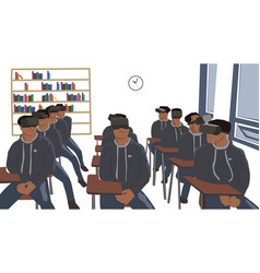 Boys sitting in classroom wearing virtual reality vector