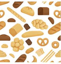Bread and other bakery foods in funny cartoon vector