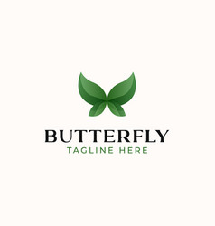 butterfly logo template isolated in white vector image