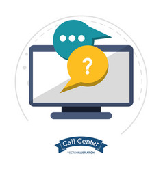 call center technology helpline chat vector image