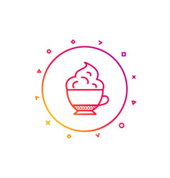 Cappuccino coffee icon whipped cream sign vector