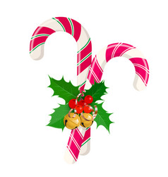 christmas candy canes with bows and decorations vector image