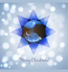 christmas card with stars and crescent moon vector image