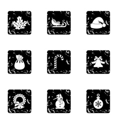 Christmas icons set grunge style vector