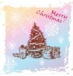 christmas vintage fir tree vector image