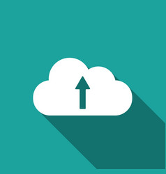 cloud upload icon isolated with long shadow flat vector image