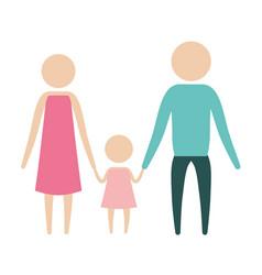 color silhouette pictogram parents with a little vector image