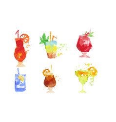 colorful cocktails collection summer alcoholic vector image