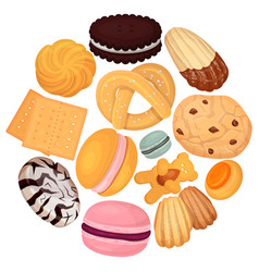cookies pastry pattern flat vector image