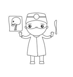 Cute cartoon doctor vector