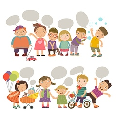 Cute kids with speech bubbles vector