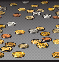 different coins isolated on transparent background vector image