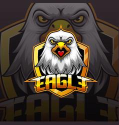 Eagle head mascot e sport logo design vector