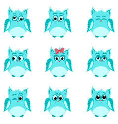 Emotions of blue owls vector