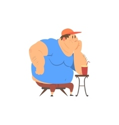 Fat Guy Sitting at The Coffee Table vector image