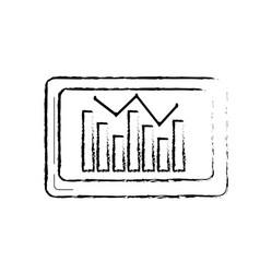 Figure computer with statistics diagram bar vector