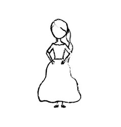 figure happy woman with hairstyle and elegant gown vector image