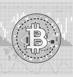 Finance bitcoin background gray vector