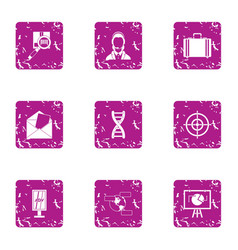 Financial center icons set grunge style vector