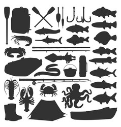 fishing silhouette icons fish catch equipment vector image