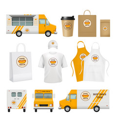 food truck identity fast catering business tools vector image