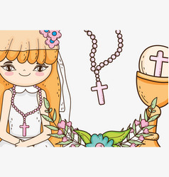 Girl communion with host wafer and chalice vector