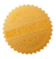 gold made with intellect award stamp vector image