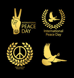 gold peace day logos set vector image