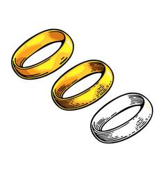 golden ring vintage black engraving vector image