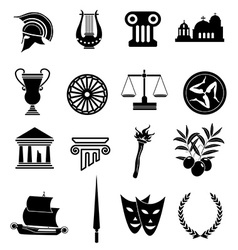 Greek rome icons set vector