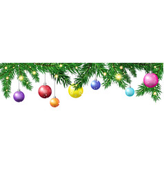 green christmas tree fir branches decorated with vector image